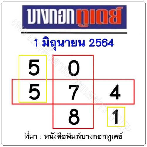 หวยบางกอกทูเดย์1/6/64