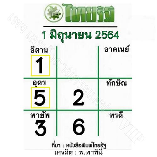 หวยไทยรัฐ1/6/64